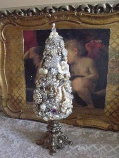 Most Exquisite Vintage Rhinestone Jewelry Christmas Tree, Free Standing The Best   eBay