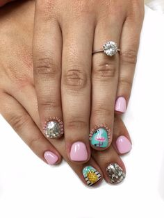 Flamingo nails. Pineapple nails. Tropical nails. Summer nails #PreciousPhan