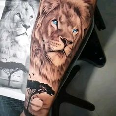 Mens Full Sleeve Tattoo, Lion Tattoo Sleeves, Leg Tattoo Men, Best Sleeve Tattoos, Full Leg Tattoos, Leo Tattoos, Animal Tattoos, Body Art Tattoos, Tattoos For Guys