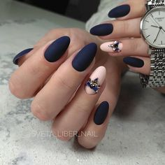matte navy + nude with jewel crown accents