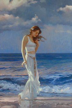 Johnson, Richard S (b,1939)- Woman Walking in Surf, I