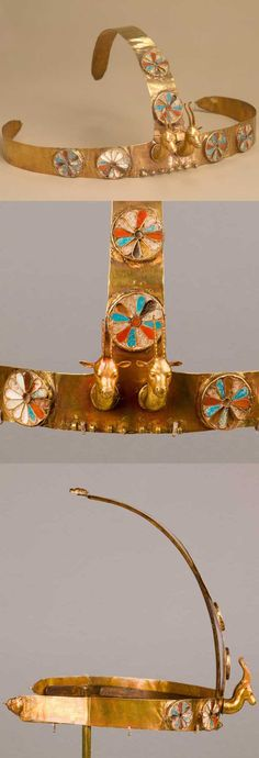 Diadem with two gazelle heads. Reign: reign of Thutmose III, ca. 1479–1425 B.C., From Egypt, Upper Egypt; Thebes, Wadi Gabbanat el-Qurud, Wadi D, Tomb of the 3 Foreign Wives of Thutmose III, gold, carnelian, opaque turquoise glass, decayed crizzled glass, L. of forehead band 48 cm (18 7/8 in); w. at bottom of vertical strip 3 cm (1 1/8 in)