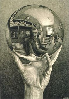Hand With Reflecting Sphere by MC Escher.  Stunning that it's drawn not a picture. A print that's hanging in my living room!!