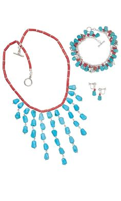 Single-Strand Necklace, Bracelet and Earring Set with Turquoise Gemstone Beads and Sterling Silver Beads
