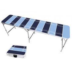 Light Blue & Navy Blue Football Field 8 Foot Portable Folding Tailgate Beer Pong Table from TailgateGiant.com