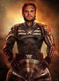 Bucky Barns as Captain America...as eventually happens in the comics