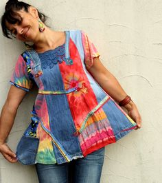 M-L Pastel rainbow denim recycled dress tunic gypsy hippie boho patchwork