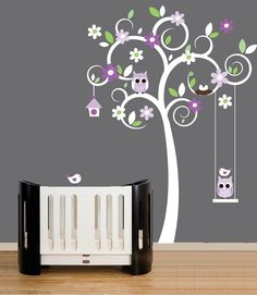 Nursery tree wall decal with owls, birds and swing vinyl wall decal stickers