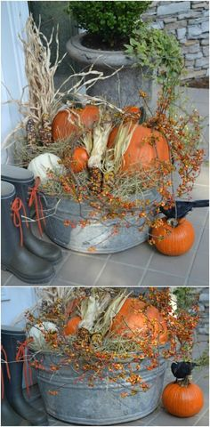 20 DIY Outdoor Fall Decorations That'll Beautify Your Lawn And Garden Galvanized Bucket Fall Display Thanksgiving Crafts For Toddlers, Thanksgiving Decorations, Thanksgiving Turkey, Thanksgiving Activities, Fall Yard Decor, Country Fall Decor, Diy Snowman Decorations, Autumn Display, Fall Displays