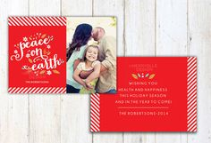 Christmas Card Template  7x5 photo card by MerryElleDesign on Etsy