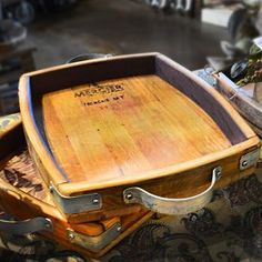 Wine barrel stave handled tray | Or a beer barrel?