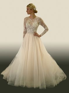 Illusion A-Line Wedding Dress  with Natural Waist in French Lace. Bridal Gown Style Number:33263831