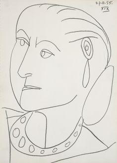 """Portrait of Helena Rubinstein XIX 27-11-1955,"" Pablo Picasso"
