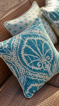 The charming Sunbrella® Casoria Ocean Outdoor Pillow features a classic shell motif woven onto linen textured fabric. | Frontgate: Live Beautifully Outdoors