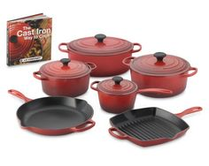 "Le Creuset Signature 10-Piece Set Cookware with Book, Red10"" $999    10"" square grill pan: #145 12"" fry pan: 165 1 1/2-qt. saucepan: 150 3 1/2-qt. round Dutch oven: 220 5 1/2-qt. round Dutch oven: 265 6 3/4-qt. oval Dutch oven: 300"