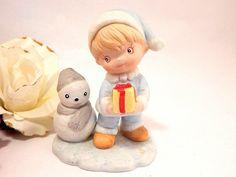 Boy & Snowman Porcelain Bisque Figurine VTG 1970s Homco #5613 Christmas Decor