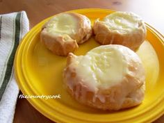 Easy Cheese Danishes using Crescent rolls, cream cheese, vanilla, butter, sugar.