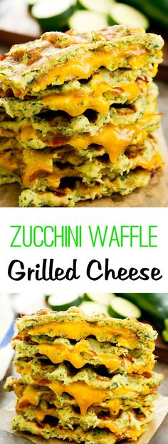 Zucchini Waffle Grilled Cheese Sandwiches. Low carb and healthier grilled cheese.