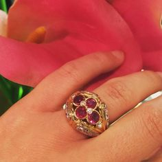 Superbe bague Kutchinsky, or jaune, rubis et diamants 🌸💕💕 Gorgeous ring by…