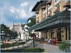 Historic bathhouse row in Hot Springs, Arkansas and check out the Arlington in the background.