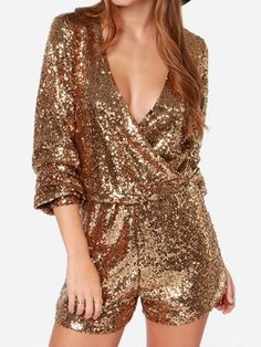 gold sequin romper for new year's eve