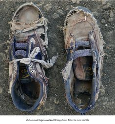 Shannon Jenson photographed the remains of Sudanese refugees' worn and tattered shoes in The Long Walk. Walk a mile in another more unfortunate mans shoes, literally. Ankle Sneakers, Slip On Sneakers, Leather Sneakers, Boat Shoes, Men's Shoes, Shoes Style, Homeless People, Homeless Man, Refugee Crisis
