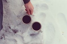 coffee and snow. a match of heaven
