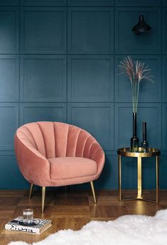 Art deco scalloped velvet accent chair deco interior living room 10 Interior 2020 Trends That Will Be Carrying On Next Year: Art Deco Accent Chair Art Deco Living Room, Living Room Chairs, Living Room Designs, Dining Chairs, Dining Table, Salon Art Deco, Art Deco Home, Art Deco Decor, Decor Room
