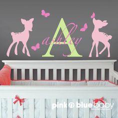 Monogram Name Decal Fawns Butterflies Nursery by pinknbluebaby