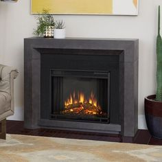 Real Flame Hughes Electric Fireplace - 3001E-GRY