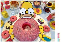 Donut cake at a Simpsons breakfast party! See more party ideas at CatchMyParty.com!