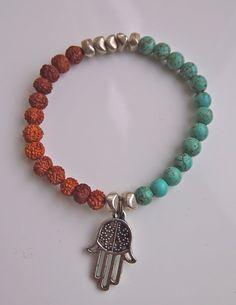 Hamsa Bracelet Mala Bracelet silver nuggets turquoise by MettaMala