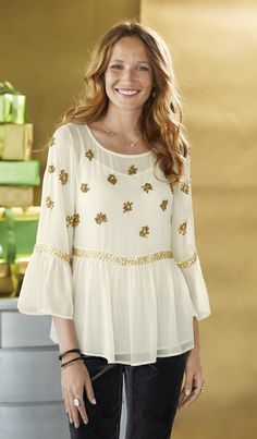 Angelwing Top - sheer silk chiffon top embellished with golden seed beads and sequins, Flounced three-quarter sleeves and floaty peplum.