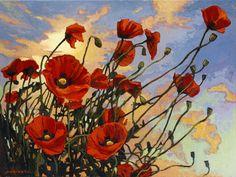 """""""Reaching For The Sky"""" - Jan Schmuckal - Oil on Linen - 18""""x 24"""" - Poppies"""
