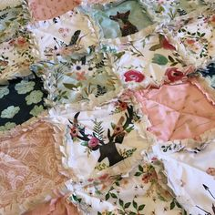 Crib Rag Quilt Deer Mint Navy Pink Fox Peach Coral by CottageDome