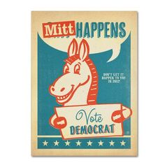 "Trademark Art ""Mitt Happens"" by Anderson Design Group Vintage Advertisement on Wrapped Canvas Size:"