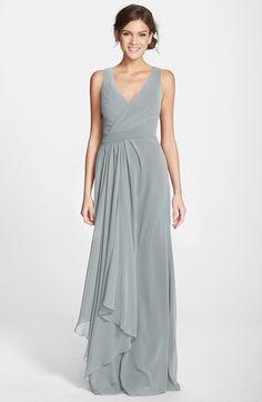 Women's Monique Lhuillier Bridesmaids Sleeveless V-Neck Chiffon Gown #bridesmaid #gray
