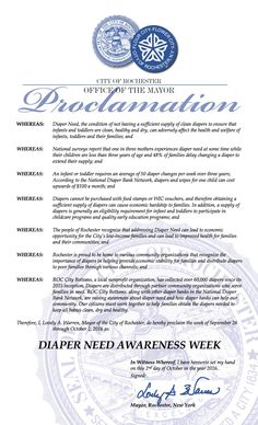 ROCHESTER, NY - Mayoral proclamation recognizing Diaper Need Awareness Week (Sep. 26 - Oct. 2, 2016) #diaperneed diaperneed.org