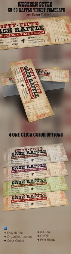 Western Style  50/50 Raffle Ticket Template - Events Flyers