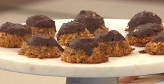 macaroons: vegan version: coconut w peanut butter etc dipped in vegan dark chocolate