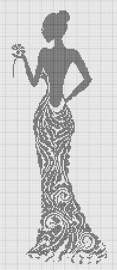 46 Lady silhouette x-stitch Gallery. Cross Stitch Kits, Cross Stitch Charts, Cross Stitch Designs, Cross Stitch Patterns, Loom Beading, Beading Patterns, Embroidery Patterns, Crochet Patterns, Cross Stitching