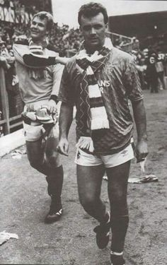 Davie Cooper and Chris Woods on the lap of honour at Ibrox to celebrate the 1988/89 championship.