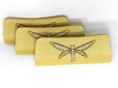 Set of 5 Bridesmaids silk clutch  bridesmaids gifts,  gold bridesmaids clutches wedding clutches