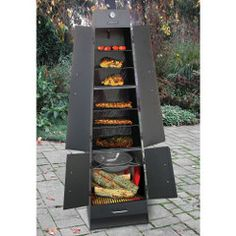 The Patio Fireplace / Grill / Smoker the patio barbecue cooker that can be used as a charcoal grill, a wood-burning smoker, or as an outdoor fireplace Grill Outdoor, Outdoor Cooking, Bbq Grill, Grilling, Patio Grill, Parrilla Exterior, Charcoal Smoker, Rocket Stoves, Survival