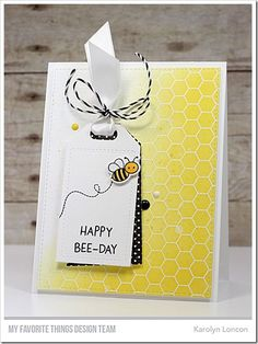Stamps: Meant to Bee, Honeycomb Background  Die-namics: Meant to bee, Tag Builder Blueprints 5, A2 Stitched Rectangle STAX    Karolyn Loncon  #mftstamps