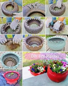 Do you might have an previous tire mendacity in your house that's of no use to you? If sure then give it a second life as a planter. To make a tire planter first rigorously make cuts within the previous tire in a zigzag method with a pointy knife as … Tire Planters, Concrete Planters, Garden Planters, Cement Garden, Garden Crafts, Diy Garden Decor, Garden Projects, Garden Ideas, Diy Crafts