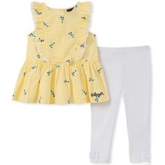 5f3bee566a5 Tommy Hilfiger Size 12M 2-Piece Printed Poplin Top And Legging Set In  Yellow white