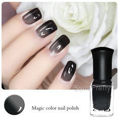 $4.59 1 Bottle 6ml Thermal Nail Polish Color Changing Polish Peel Off Polish Black to Grey - BornPrettyStore.com