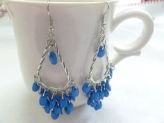 Chandalier 925 Sterling Blue Lapis Earrings by CaseyRoseCollection, $12.00