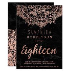 120 best typography birthday invitations images on pinterest faux rose gold boho mandala black marble 18th invitation stopboris Image collections